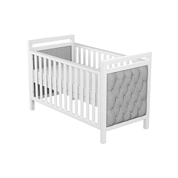 Babymore Velvet Deluxe Cot Bed  Diamante and velvet tufted upholstery Distinctive design for nursery Generous 5 cm solid wood structure, last for years of use 6