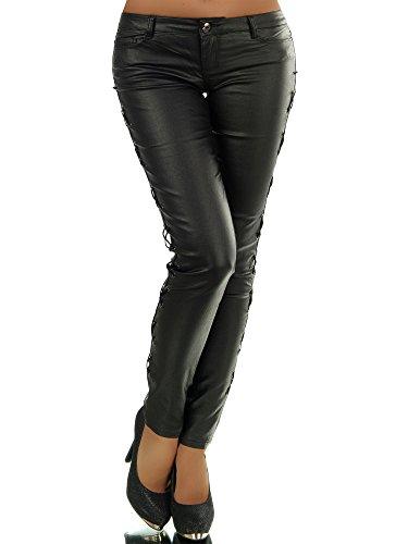 N271 Damen Hose Damenjeans Leggings Stoffhose Leder-Look Röhrenhose Jeans , Farben:Schwarz;Größen:38 (M) (Schwarz Leder Diva)