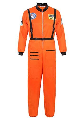 Kranchungel Mens Astronaut Kostüm Spaceman Suit Jumpsuit Halloween Kostüme für Erwachsene Orange XX-Large (Orange Astronaut Overall Für Erwachsene Kostüm Herren)