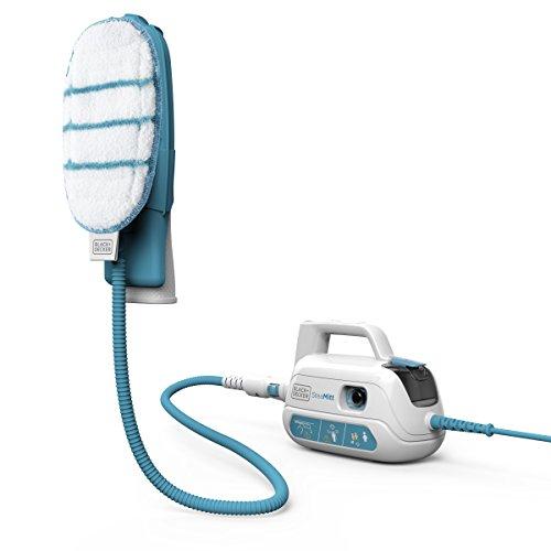 Dampf-mopp (Black+Decker 1000W Handdampfgerät, Dampfreiniger Steamitt Pro inkl. 8-teiligem Zubehör, mit konstantem Dampfausstoß per Knopfdruck, Aufheizphase max. 20s, Kalkfilter, FSH10SMP)