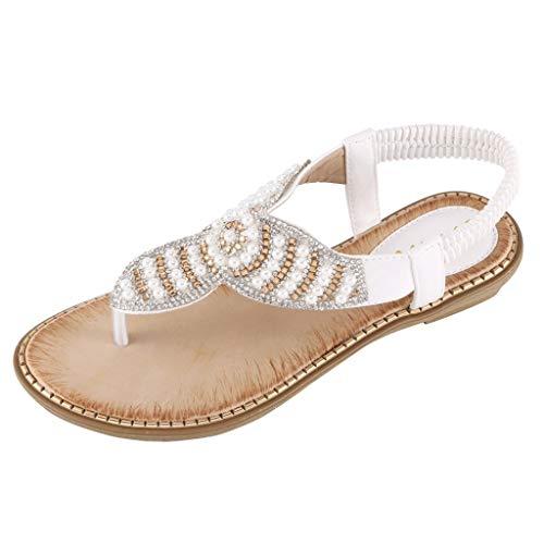Tohole Damen Sandaletten Frauen Peep Toe Schleife Flatform Sandalen Schuhe Sommer Flip Flops Bohemian Flach Perle Schmetterling Strass Sommerschuhe(Weiß 12,42 EU)
