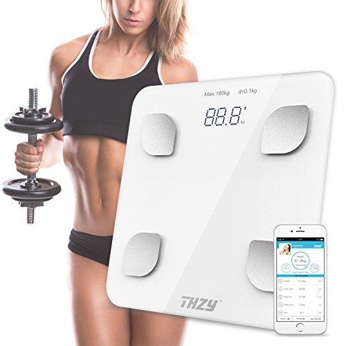 Digitale Personenwaage Körperwaage,THZY Smart Personenwaage Gewichtswaage Bluetooth Personenwaage,Messen Gewicht,Körperfett,BMI,BMR, Wasser,Muskel und Knochen etc