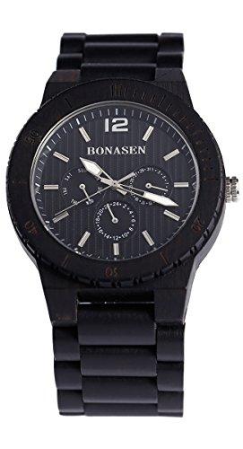 BS® mano orologio classico di legno di legno della vigilanza della fascia nera naturale del legno di sandalo Con Giorno Data la funzione orologio al quarzo BNS-160A