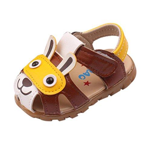 Baby Schuhe mit Licht, FNKDOR Jungen Kinder Sandale Rutschfest Lauflernschuhe mit Licht in der Ferse, 0-5 Jahre (17(12-18 Monate), Braun)