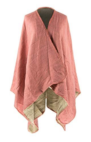MANUMAR Ponchos für Damen   Cape in einfarbig altrosa   Überwurf Cape   Umhang   Wendeponcho Perfektes Herbst/Frühling/Winter Accessoire  