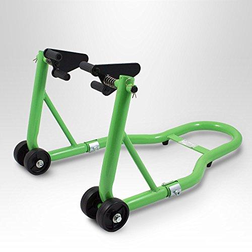 BITUXX® Motorradständer Vorn Motorrad Montageständer Vorderrad Transportständer Grün Aufnahme 21 - 26 cm + für fast alle Motorräder geeignet