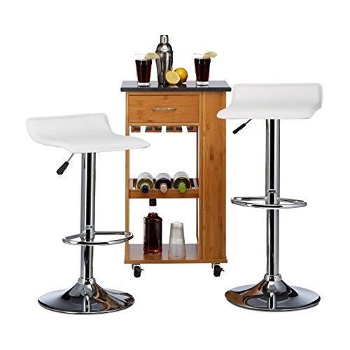 Relaxdays Barhocker Design DIZZY , ohne Lehne, höhenverstellbar, 2er Set, HxBxT: 76 x 37 x 37 cm, Thekenstuhl, weiß