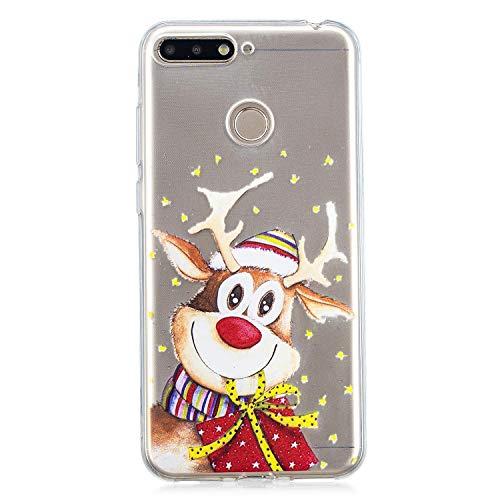 Huawei Honor 7A Hülle,Huawei Honor 7A Hülle Silikon,WIWJ Handyhülle[Weihnachten Gemalt Soft Silikon Case]Ultra Dünn Transparent Weiche TPU Case Cover Schutzhülle-Elch Geschenk