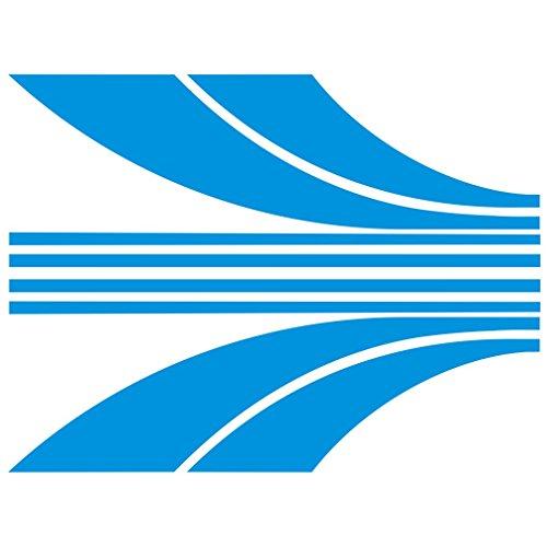 3015__LBL Autoaufkleber Racing Linien ( Light Blue) (Quad-scheibenaufkleber)