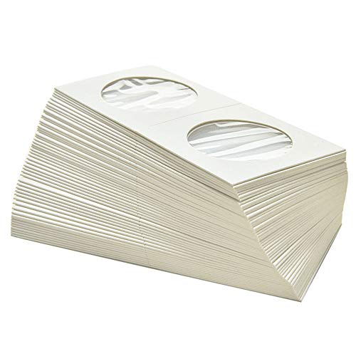 byou Cardboard Coin Holder,Karton Münzhalter 100 stück 50 * 50mm Flip Mega Sortiment für Münz Kollektion Supplies zum Münze Sammlung Lager Schutz 2 größe 20.5mm 31.5mm