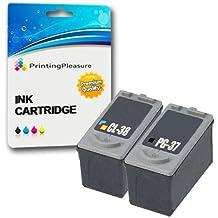 2 Compatibles Canon PG-37 CL-38 Cartuchos de tinta para Pixma iP1800 iP1900 iP2500 iP2600 MP140 MP190 MP210 MP220 MP470 MX300 MX310 - Negro/Color, Alta Capacidad