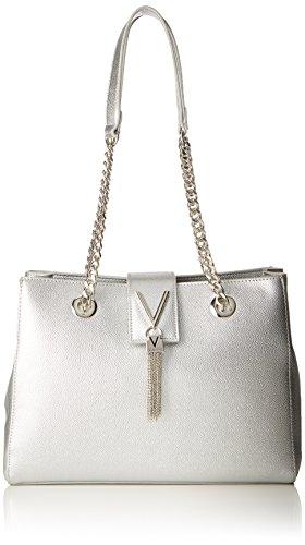 Mario Valentino Valentino by Damen Divina Schultertasche, Silber (argento), 9.5x23x30 cm