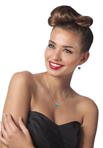 Parrure petits Coeurs en argent et Fimo - Bijoux fait main - Cadeau pour jeune fille Turquoise