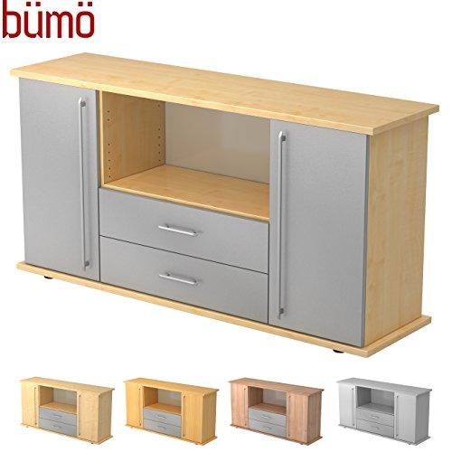 Bümö® Büro Sideboard | Büroschrank mit Stauraum für Ordner, Bücher und Material | Büromöbel | in 14 Dekoren (Ahorn/Silber) -