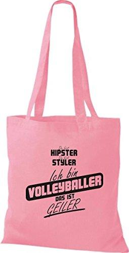 Shirtstown Stoffbeutel du bist hipster du bist styler ich bin Volleyballer das ist geiler rosa