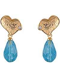 Estelle Gold Plated Oxidised Heart Shape Sky/Sea/Royal Blue Color Drop Earrings|Cz/AD Ladies Dangle Earing With...