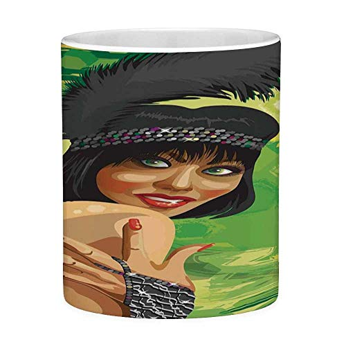 eramik Kaffeetasse Teetasse Weiß Vintage 11 Unzen Lustige Kaffeetasse Retro Sexy Woman Portrait in Old Fashion Stilvolle Mode Kleid Glamour Artsy Print Multicolor ()
