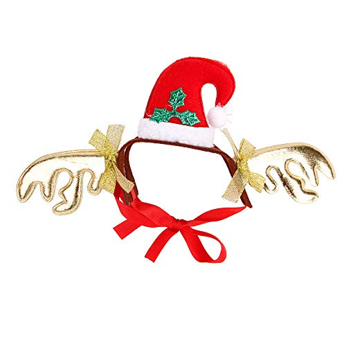 (Tonsee Weihnachten Hund Katze Kopfschmuck Rentier Haarreif Headbands Dekoration Zubehör Niedlich Einstellbar Hut mit Blumen Rot Haarband Haarschmuck Kostüm Schmuck Tier Zubehör (22.5x7cm, D))