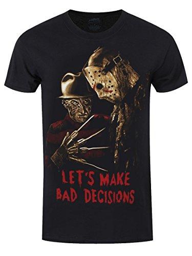 Freddy Vs Jason Men's Let's Make Bad Decisions Black T-shirt