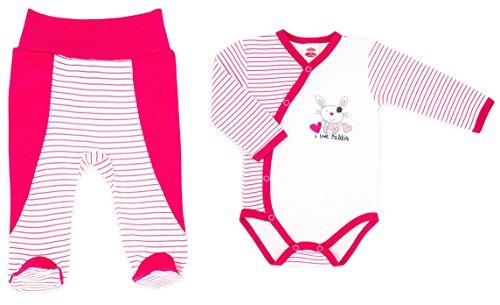 Baby-Mode Mädchen Erstausstattung 2tlg. Body Wickelbody & Hose mit Fuß -Kollektion Rabbit- (56 - 68) (68, Rabbit) (Oma Kleinkinder Hose)