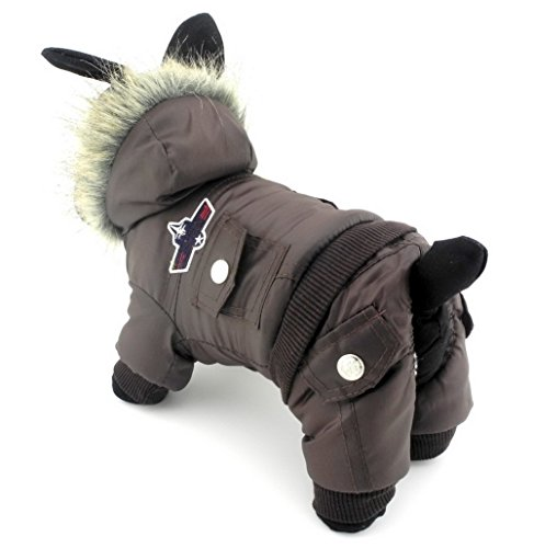 Tee Kostüm Cup - Zunea, Overall mit Kapuze für Hunde, mit Fleece, wasserdichter Schneeanzug (fällt klein aus, bitte eine Größe größer bestellen) Braun XL