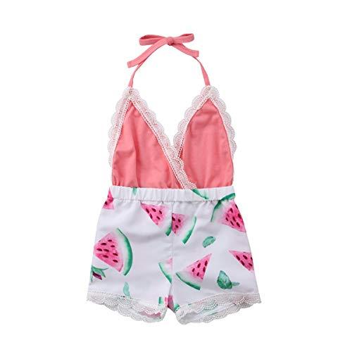 hen Halfter Einteiler Sommer Kleinkind Overall Outfit Lace rückenfreie Kleidung mit Druck Sunflower Sunsuit ()