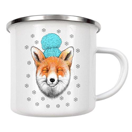 artboxONE Emaille Tasse 'Winter fox' von Nikita Korenkov - Emaille Becher Fashion