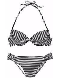 lascana de bikini push up, schwarz-weiss gestre, 40C