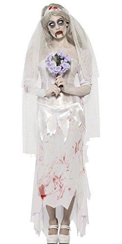 e Geist tot Braut Scheidung Party Halloween Kostüm UK 8-18 - grau, 12-14 (Tote Braut Halloween Kostüm Uk)
