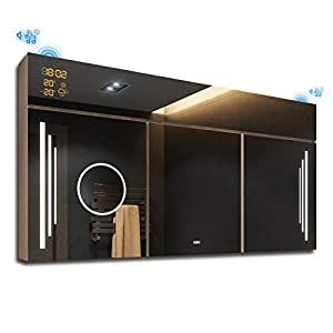 FORAM Spiegelschrank mit LED Beleuchtung 100 x 72 x 17 cm, Badschrank A++ | Schalter, WETTERSTATION, Bluetooth Lautsprecher, LED Uhr | Helle Sonoma Eiche