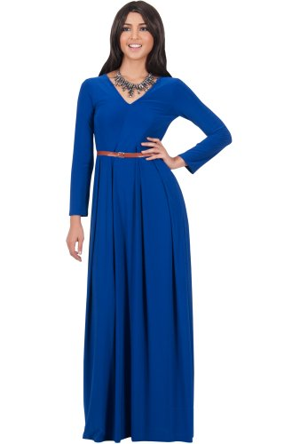 KOH KOH® Plus Size Damen Langarm Maxikleid Elegant Abendkleid V-Ausschnitt, Farbe Kobalt / Royalblau, Größe XL / Extra Large (Kostüme Cute Halloween Maternity)