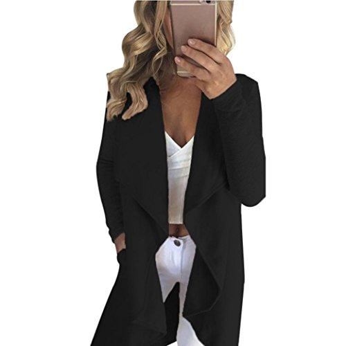 Clode® Femmes printemps automne occasionnels veste à manches longues Slim Cardigan solide manteau Noir