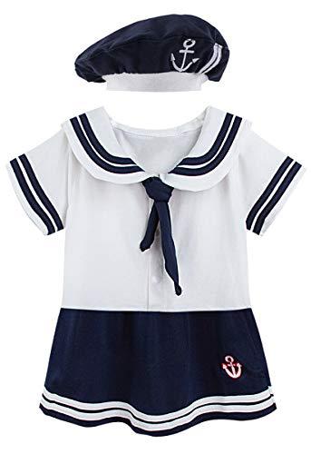 MOMBEBE COSLAND Baby Mädchen Matrose Body Sommer Kurz mit Hut (Weiß, 6-12 Monate) (Weiße Hut Matrose)