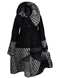 Damen Lagenlook Winter Übergang Wolle Mantel Swinger Trench Coat Patchwork  44 46 48 50 L XL XXL… 7f0fa87ccd