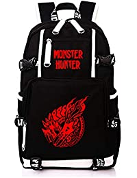 Cosstars Monster Hunter MH Juego Mochila Escolar Estudiante Bolso de Escuela Backpack Mochila para Portátil