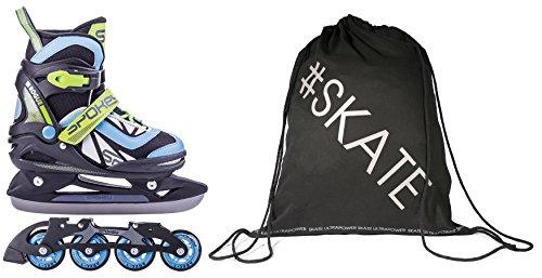 Spokey ROGUE 2in1 Verstellbare Inline Skates / Schlittschuhe + Ultrapower Rucksack 29-32 Blau -  Grau - Schwarz