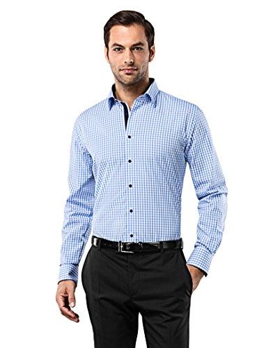 Vincenzo Boretti Herren-Hemd bügelfrei 100% Baumwolle Slim-fit tailliert kariert New-Kent Kragen - Männer lang-arm Hemden für Anzug Krawatte Business Freizeit blau/weiß ()