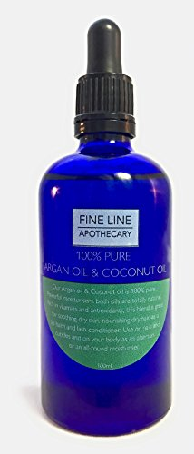 Mischung aus Arganöl und Kokosnussöl - 100 ml von Fine Line Apotheker. 100% Premium, Pure, Natural, Arganöl und fraktionierte Kokosnussölmischung. (Ziehen Ferse)
