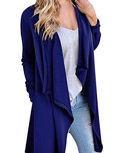 StyleDome Donna Cappotto Manica Lunga Tasche Nuovo Outerwear Autunno Elegante Moda Giacca Loose Bello Blu