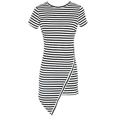 Minetom Donne Moda Cime Vestito Strisce Stampa Camicetta Il Giro Collo Camicie Nero A (Stampa Vintage Tunica)