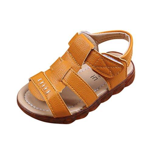 SOMESUN Fashion Baby Jungen Mädchen LED Licht Schuhe Kinder Leuchtend Weiche Sohle Elastisch Atmungsaktiv Mesh Klassisch Gestreift Beiläufig Freizeit Sport Turnschuhe (EU25, Gelb)