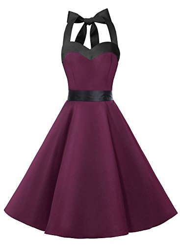Dresstells Neckholder Rockabilly 50er Vintage Retro Kleid Petticoat Faltenrock Burgundy Black XS