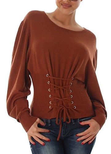 VOYELLES Damen Pullover im Korsett-Stil, ein kurzer Pulli mit Langarm und Feinripp-Optik, Gr. 34-38 Camel Braun (Dunkles Grün Korsett)