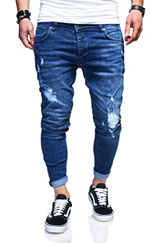 Behype Herren Destroyed Jeans-Hose 80-3496 Blau 32/32