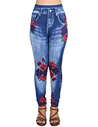 1e63ebef950675 Ziva Fashion Girls/Womens Blue Poly Cotton Printed Slim Fit Ankle Length  Leggings/Jeggings