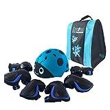 Wcx Vêtements de protection pour enfants de casque de ski pour enfants, genouillères, coudières et protège-poignet 7 pcs/sac de casque pour le scooter à roulettes (Couleur : Bleu-M 30-55kg)