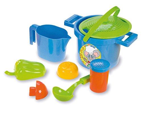 Lena 05413 - Happy Sand Spielset Kochen, 8 Teile, Sand und Wasser Spielzeug Set für Kinder ab 2 Jahre, mit Topf, Deckel als Sieb, 3 Förmchen, Messbecher, Streuer und Kelle, Sandspielzeug Garnitur