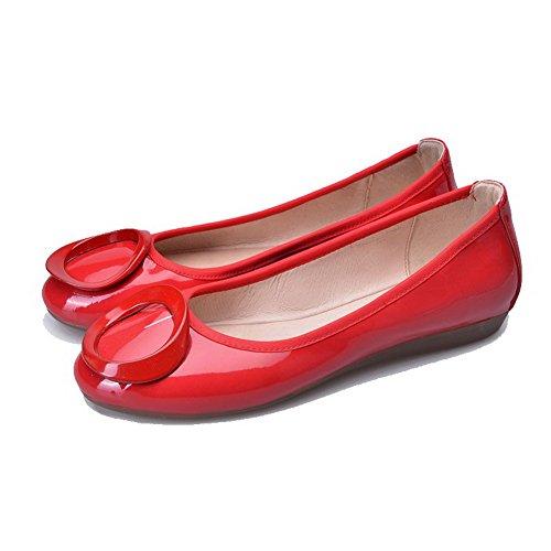 AgooLar Femme Non Talon Verni Couleur Unie Tire Rond Chaussures à Plat Rouge