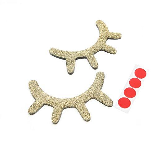 Kofun DIY Removable Wandaufkleber, Cartoon 3D Holz Wimper geschlossenes Auge DIY Wandaufkleber DIY Craft Home Zimmer Aufkleber Gold (Wimpern Realistische)