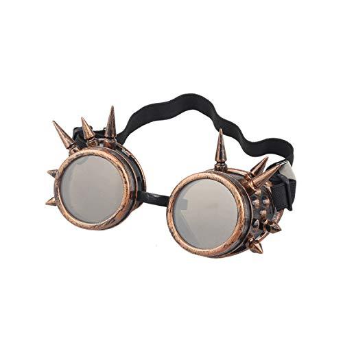 Klassische Sportsonnenbrille, Fashion Men Women Welding Goggles Gothic Steampunk Cosplay Antique Spikes Vintage Glasses Eyewear Goggles Punk Rivet #7 Red Copper